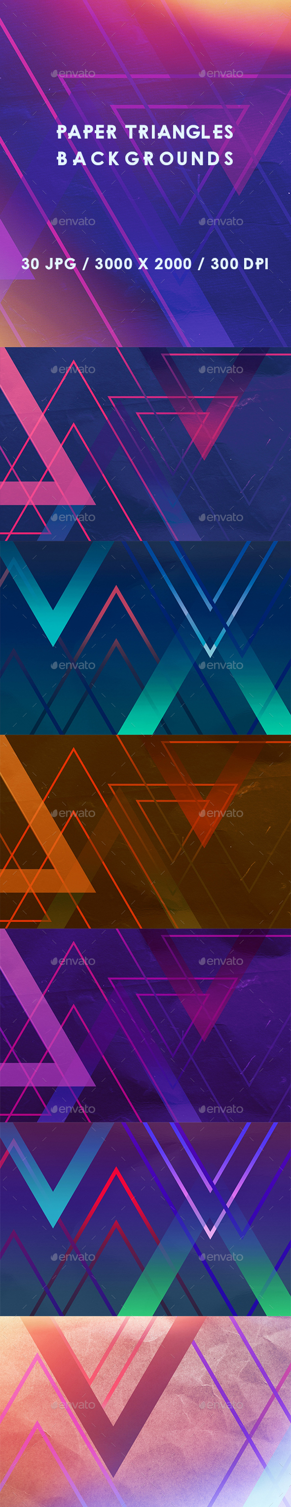 30 Paper Triangles Backgrounds - Abstract Backgrounds