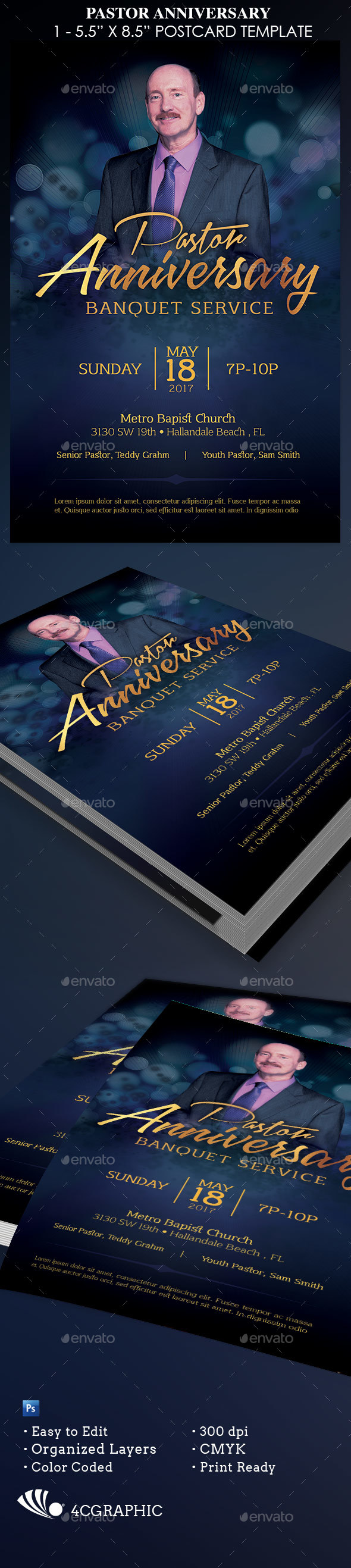 Pastor Anniversary Template - Church Flyers