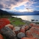 Sunset on the Rocky Shore of a Mountain Lake. Mongolia. Houghton Lake - VideoHive Item for Sale