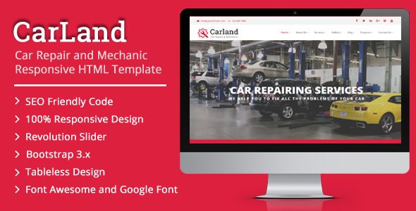 CarLand – Car Repair and Mechanic Responsive HTML Template