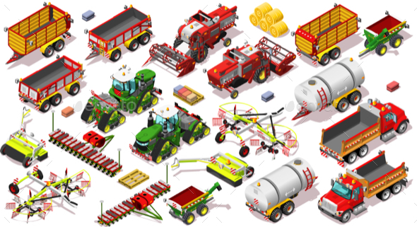 Isometric Farm Vehicle 3D Icon Set Collection Vector Illustration - Man-made Objects Objects