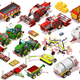 Isometric Farm Vehicle 3D Icon Set Collection Vector Illustration - GraphicRiver Item for Sale