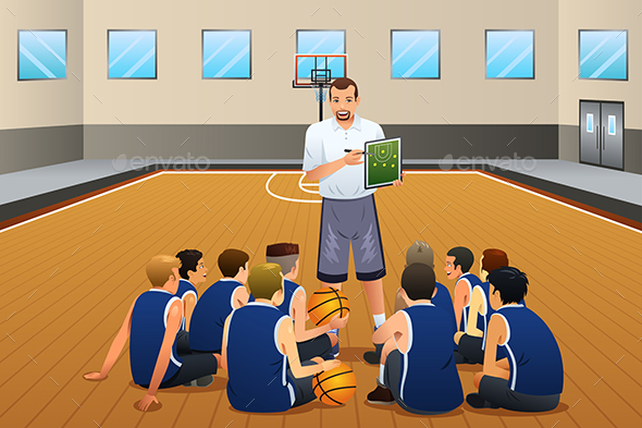 Basketball Coach Talking with His Players on the Court - People Characters