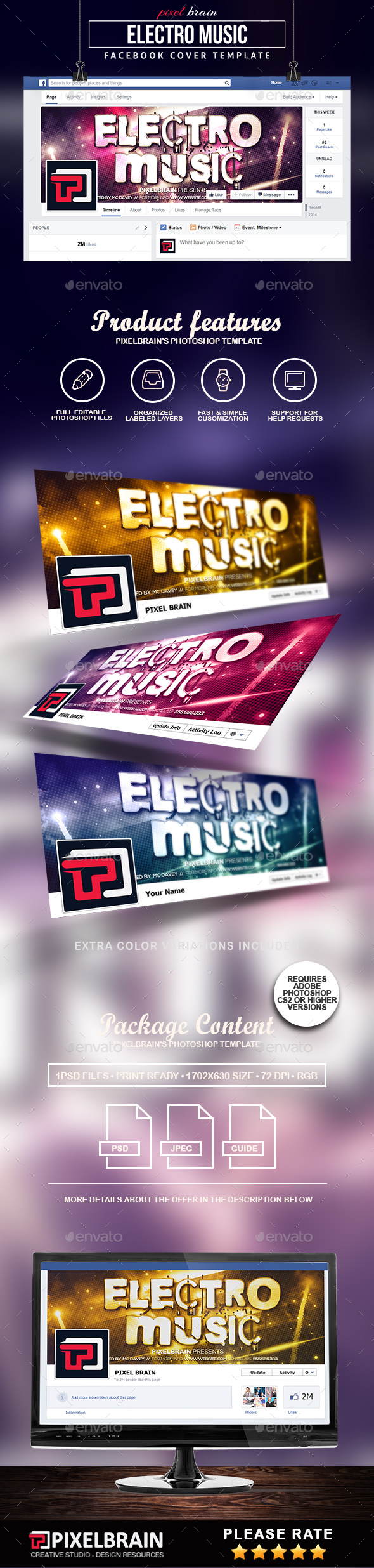 Electro Music Facebook Cover Template - Facebook Timeline Covers Social Media