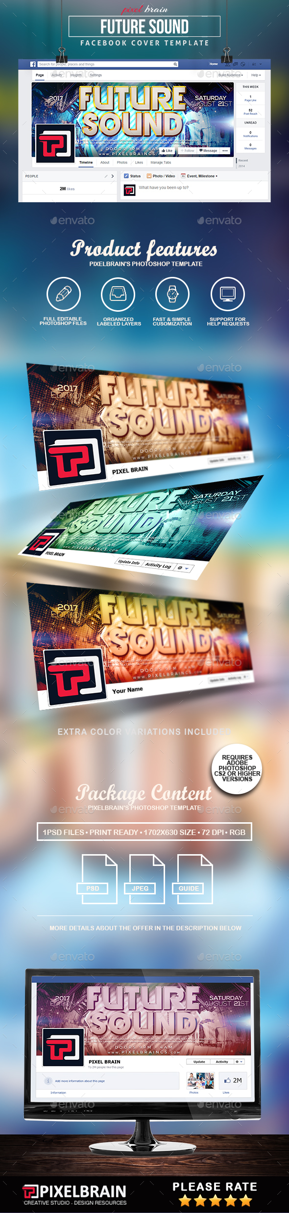 Future Sound Facebook Cover Template - Facebook Timeline Covers Social Media