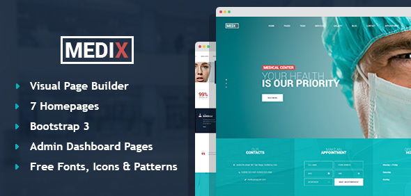 Medix – Medical Clinic HTML Template with Builder and Dashboard Pages