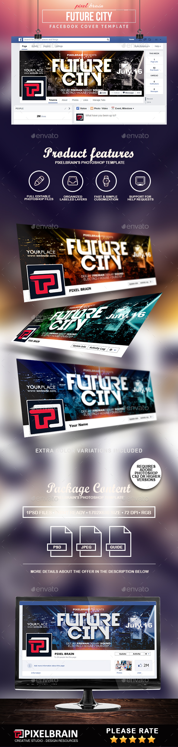 Future City Facebook Cover Template - Facebook Timeline Covers Social Media