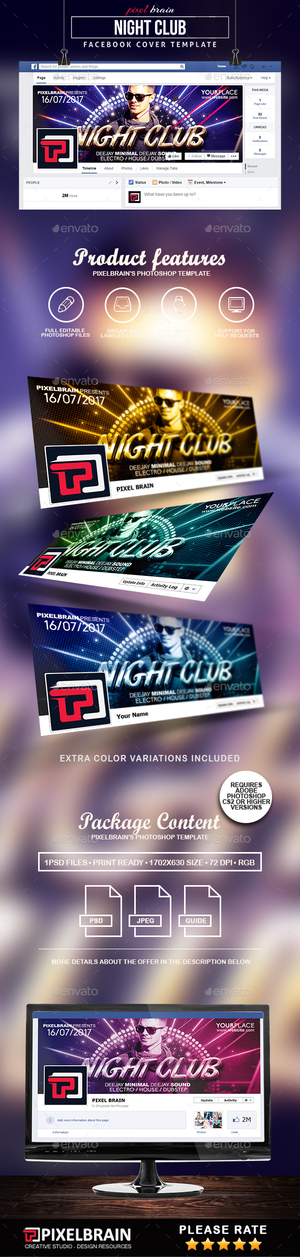 Night Club Facebook Cover Template - Facebook Timeline Covers Social Media