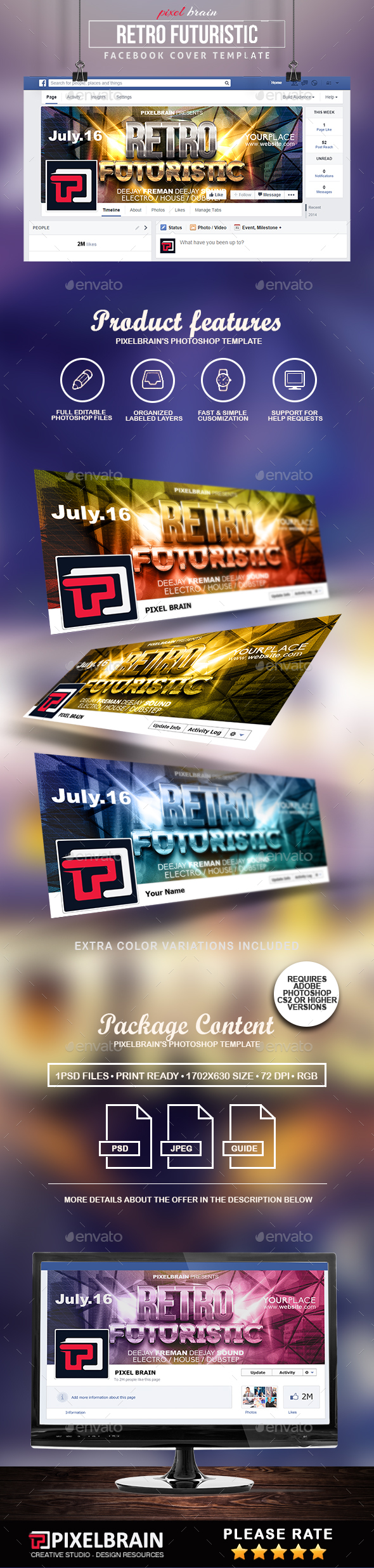 Retro Futuristic Facebook Cover Template - Facebook Timeline Covers Social Media