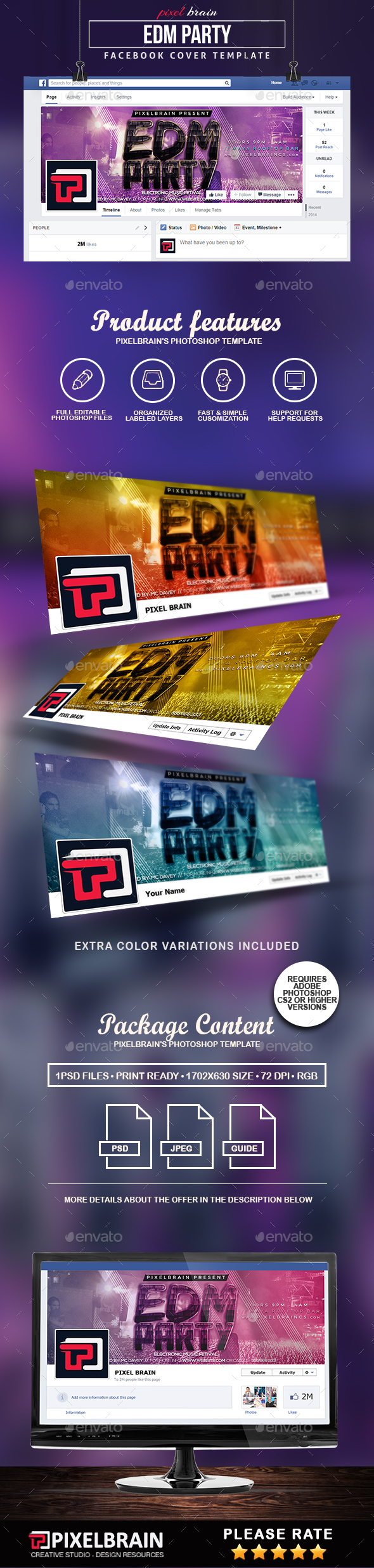 EDM Party Facebook Cover Template - Facebook Timeline Covers Social Media