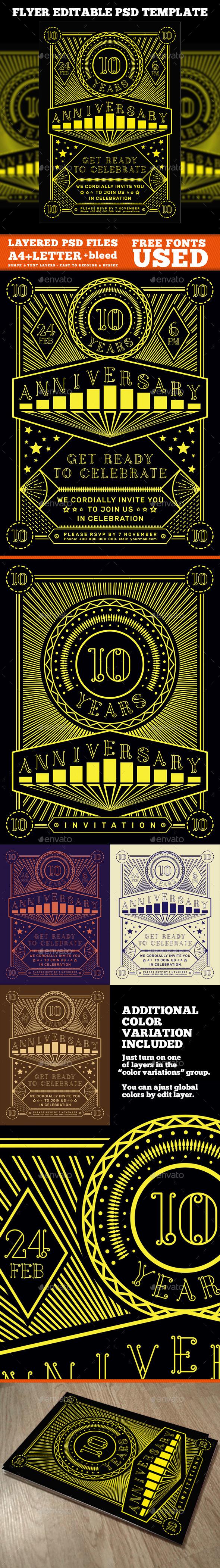 Editable Anniversary Flyer - Events Flyers