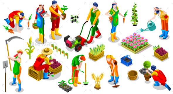 Isometric Farmer 3D People Icon Collection Vector Illustration - People Characters