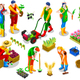 Isometric Farmer 3D People Icon Collection Vector Illustration - GraphicRiver Item for Sale