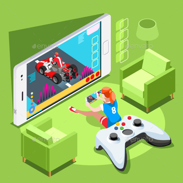 Computer Video Game Isometric Person Gaming Vector Illustration - Computers Technology