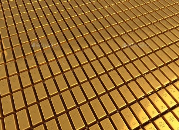 Gold Bars 3d İllustration - 3D Backgrounds
