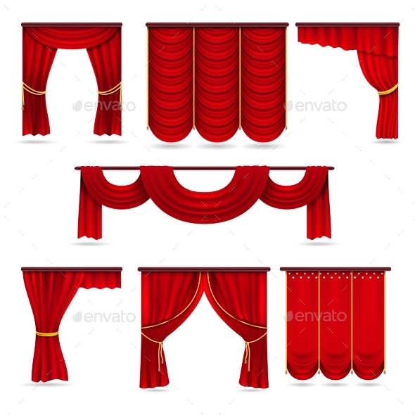 Silk Red Room Curtains - Man-made Objects Objects