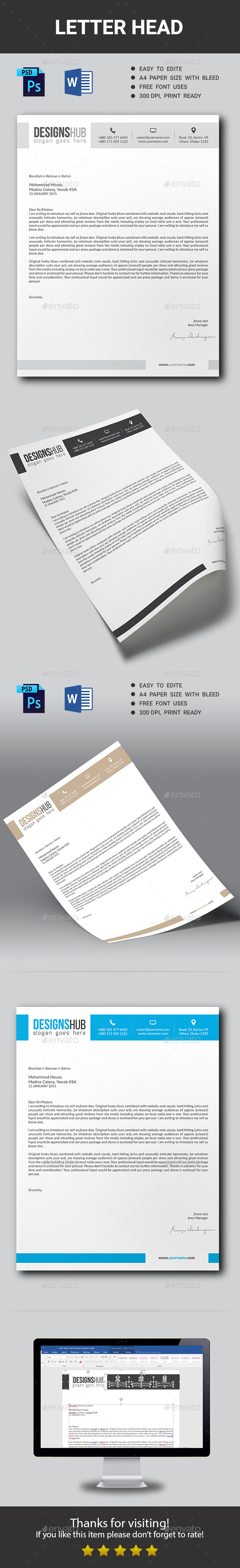 Corporate Letter Head - Stationery Print Templates