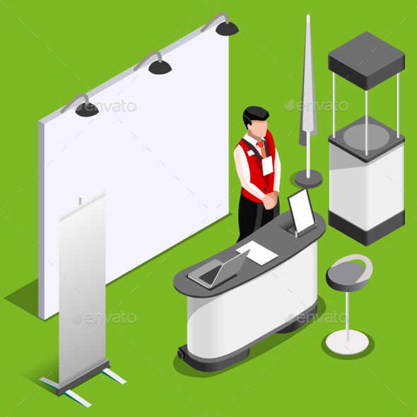 Exhibition Booth 3D Stand People Isometric - People Characters