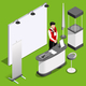 Exhibition Booth 3D Stand People Isometric - GraphicRiver Item for Sale