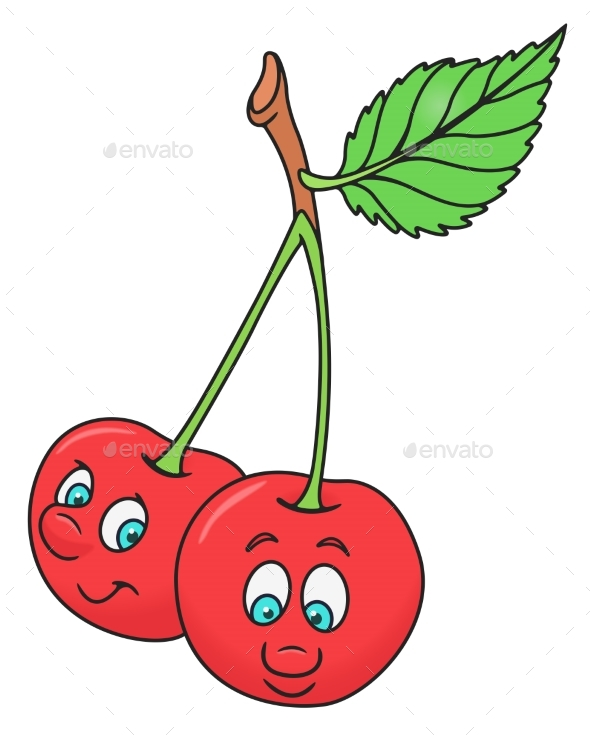 Fresh Cherry Cartoon - Food Objects