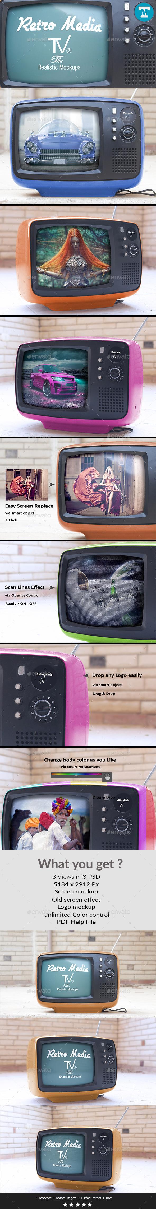 Retro Media Tv - The Realistic Mockups V2 - Miscellaneous Displays