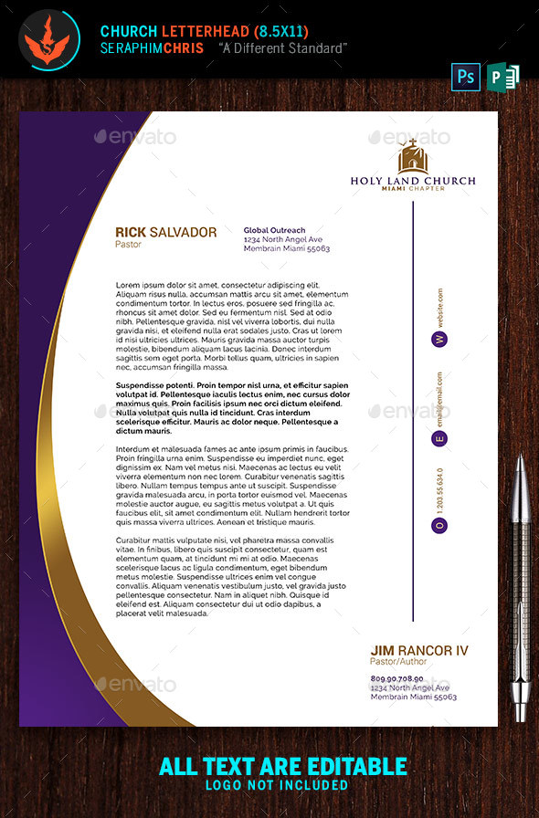 Royal Church Letterhead Template By Seraphimchris | Graphicriver