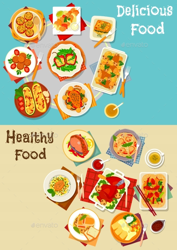 Healthy Food Icon Set with Baked Dishes - Food Objects