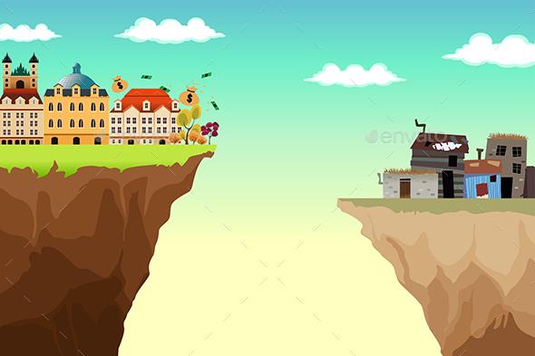 Conceptual Illustration of Gap Between Rich and Poor - Conceptual Vectors
