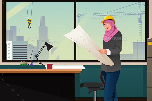 Muslim Woman Working in a Construction Office - People Characters