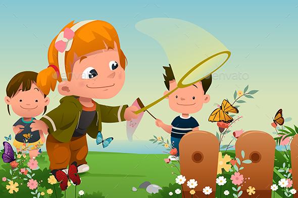 Kids Catching Butterflies Outdoor - People Characters