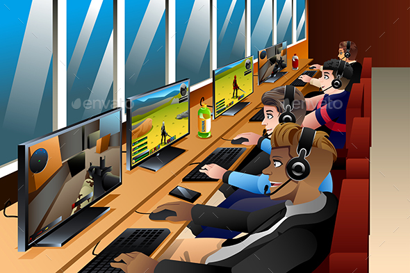 Young People Playing Games on an Internet Cafe - People Characters