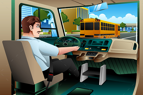 School Bus Driver Driving a Bus - People Characters