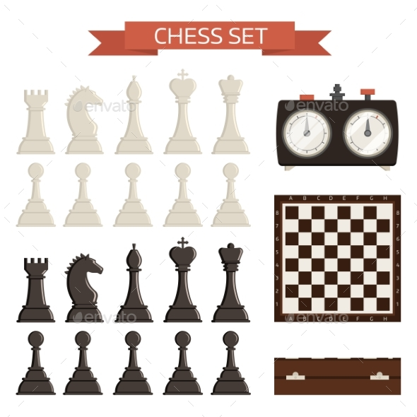 Chess Board and Chessmen Vector Isolated on White - Backgrounds Decorative
