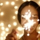 Happy Girl with Sparklers and Bokeh Lights - VideoHive Item for Sale