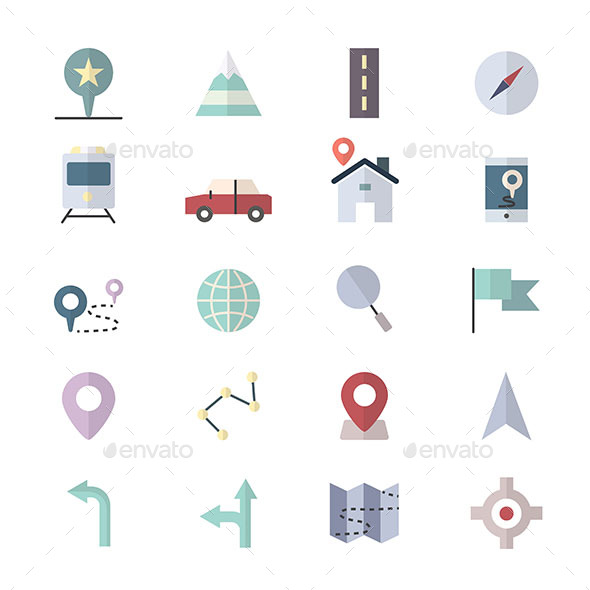 Navigation Icons and location Icons Set Of Vector Illustration Style Colorful Flat Icon - Icons
