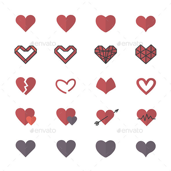 Red Heart Icons and Valentine Icons Set Of Vector Illustration Style Flat Icons - Icons