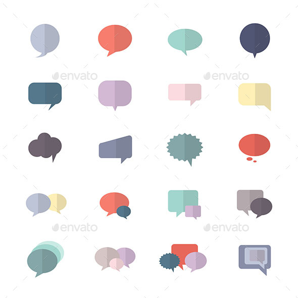 Speech Bubble and Chat Icon Set Of Abstract Vector Style Colorful Flat Icons - Abstract Icons