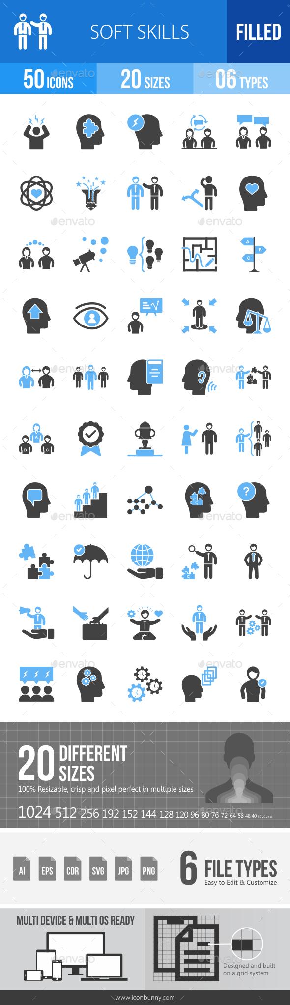 Soft Skills Blue & Black Icons - Icons
