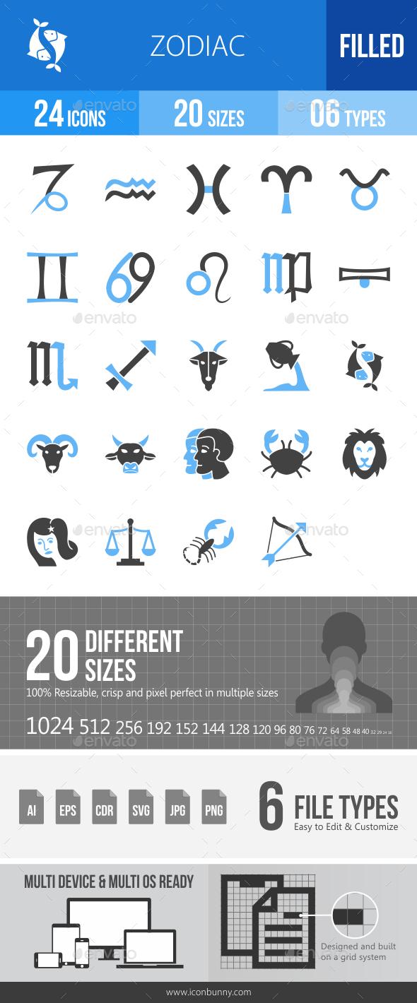 Zodiac Blue & Black Icons - Icons