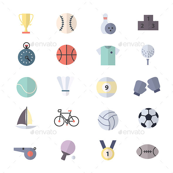 Sport Icons Set Of Vector Illustration Style Colorful Flat Icons - Objects Icons