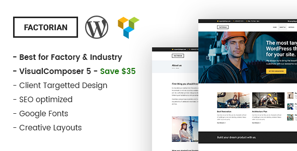 Factorian - Minimal Factory & Industry WordPress Theme - Business Corporate