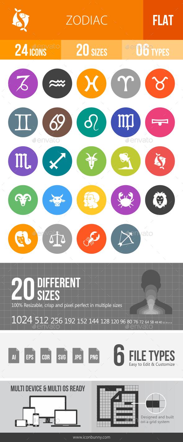 Zodiac Flat Round Icons - Icons