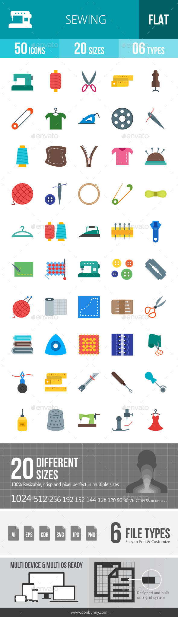 Sewing Flat Multicolor Icons - Icons