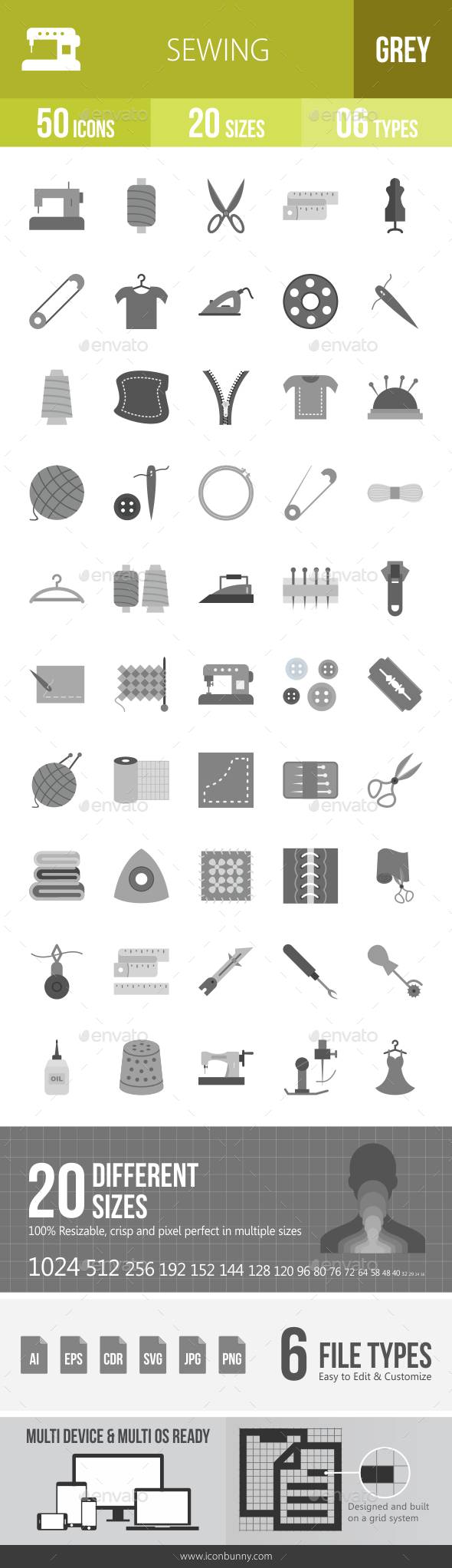 Sewing Greyscale Icons - Icons