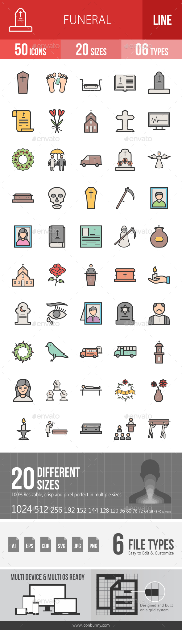 Funeral Filled Line Icons - Icons