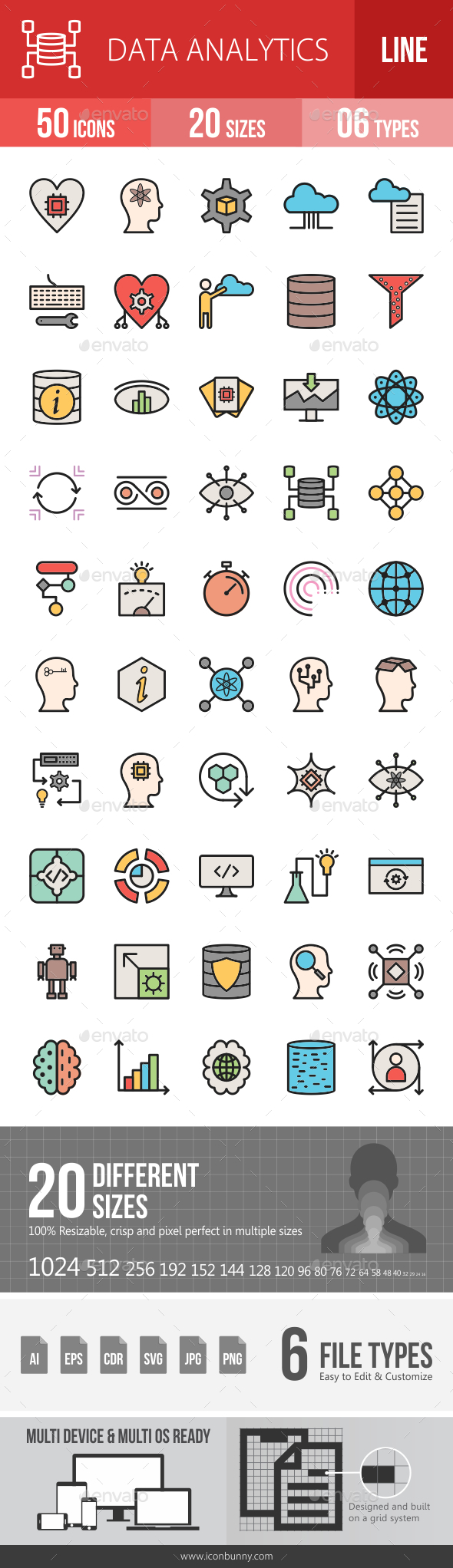 Data Analytics Filled Line Icons - Icons