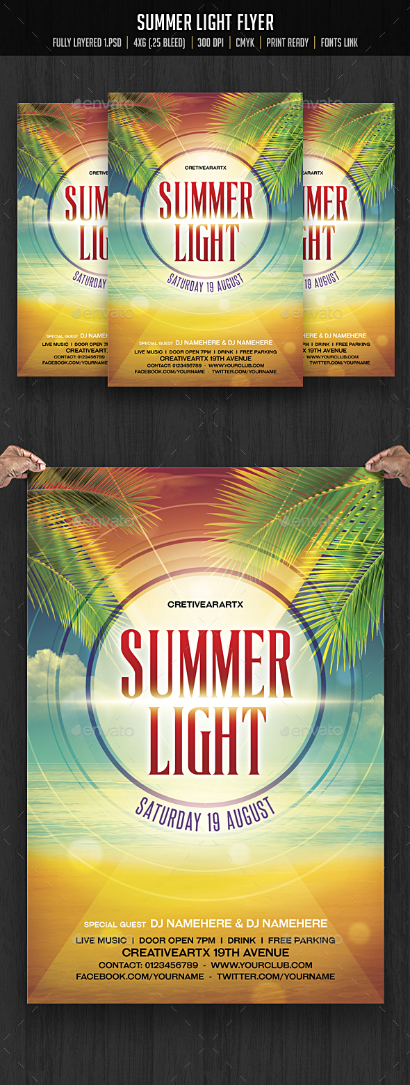 Summer Light Flyer - Clubs & Parties Events