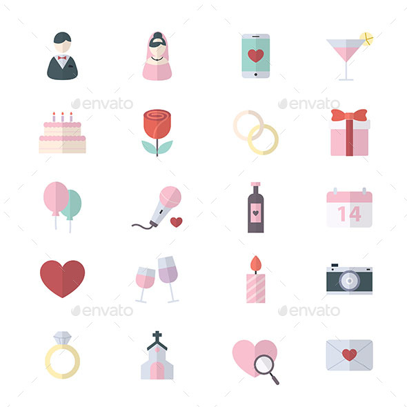 Sweet Valentine and Love Wedding Flat Color Icons - Icons
