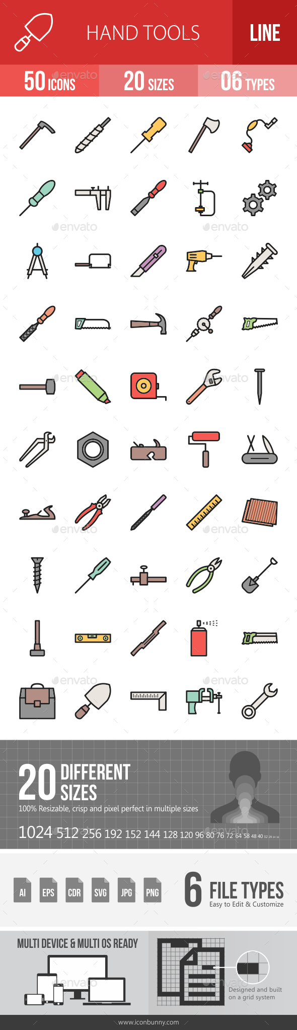 Hand Tools Filled Line Icons - Icons