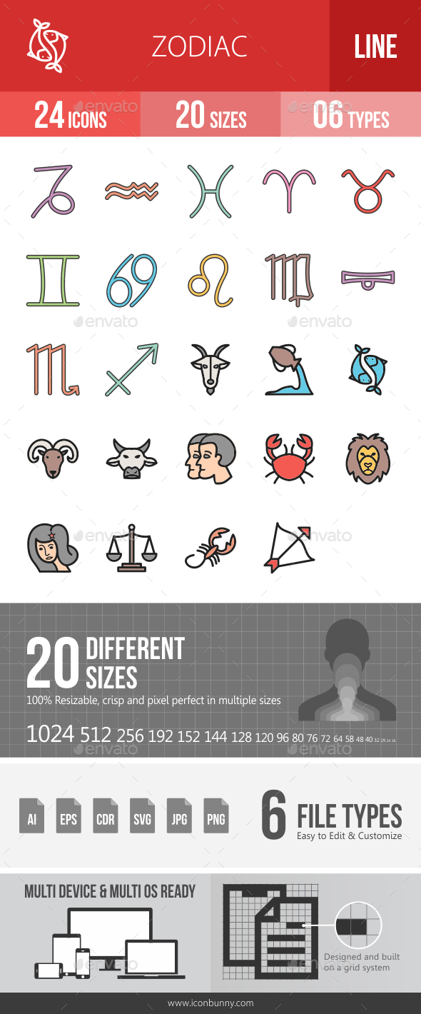 Zodiac Filled Line Icons - Icons